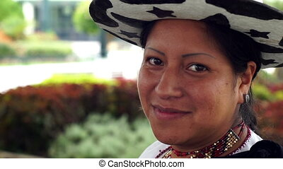 People Faces Ecuador Saraguro Woman - Close up side portrait...