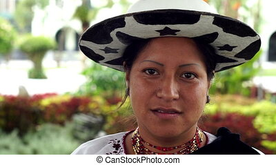 People Faces Ecuador Saraguro Woman - Close up portrait shot...