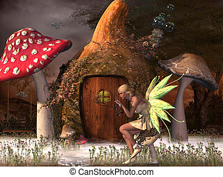 Fairy Belle plays with glowflies outside her gourd home in...