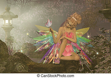 Fairy Dreams - A small fairy with wings waits as a pink...