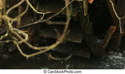 Old misterious mill in the dark woods close up