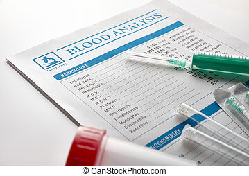 Blood test report with vials urine container and syringe -...