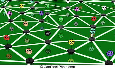 Social network concept with connected faces - Social network...