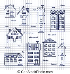 Sketch of houses of different heights - Different houses...