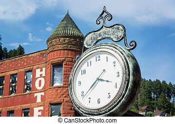 Historic Clock in Deadwood - Old historic clock in the old...