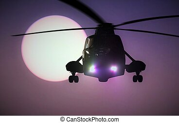 Military Helicopter flying at sunset