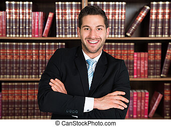 Confident Lawyer Standing Arms Crossed
