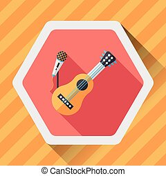 guitar flat icon with long shadow,eps10