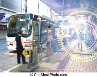 Blur mixed media of bus terminal and digital graphic used...