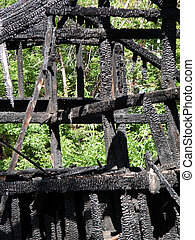 Log burnt by fire