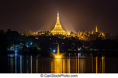 Shwedagon pagoda at night, Yangon,Myanmar - Shwedagon pagoda...