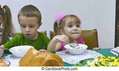 Children eat breakfast family birthday christmas celebration...