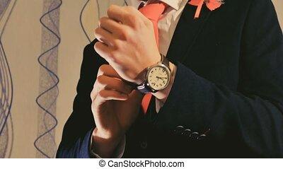 man businessman looks at the clock - man businessman looks...