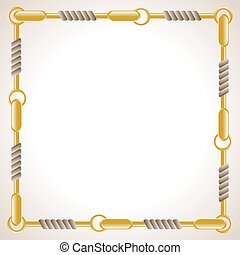 Chain frame - Square background with rope and chain. Eps 10
