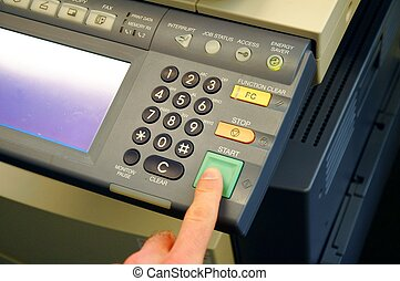 copier center or desktop in office showing paperwork concept