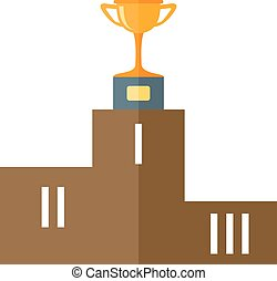 pedestal - Sports podium with gold cup