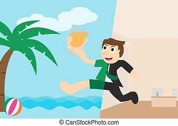 Happy businessman going to relax on the beach for vacation