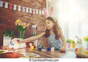 girl wearing bunny ears - Happy easter! A beautiful child...