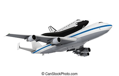 Shuttle Carrier Aircraft isolated on white background. 3D...