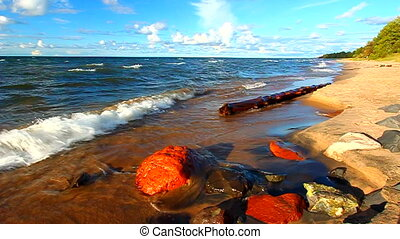 Michigan Lake Superior Beach - Waves along the beach of Lake...