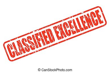 Classified excellence red stamp text on white