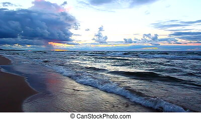Sunset over Lake Superior Waves - Sunset over crashing waves...