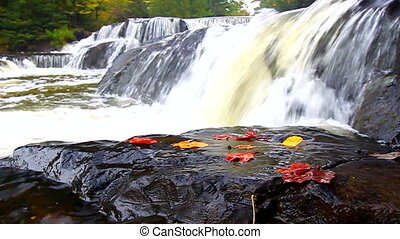 Bond Falls Northwoods Michigan - Autumn foliage surrounds...