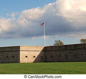 Ft. Adams - An American flag is flown over Ft. Adams,...