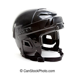 Black Ice Hockey Helmet Isolated on White - A black ice...