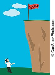 Business man look up the success flag on top of cliff, concept for find way to success