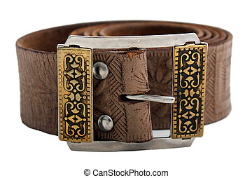 Leather belt - Woven brown leather belt isolated on white