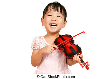 Chinese Little Girl Playing Violin on a white background