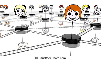 Social network concept with connected faces on white -...