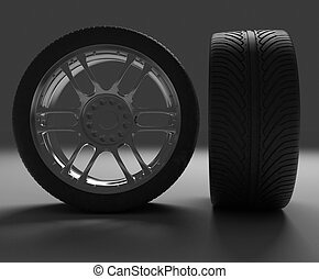 Two views automobile wheel