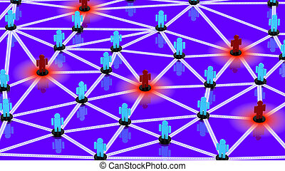 Social network with blue guys and red guys posing as threats...