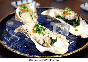 Raw fresh japan oyster with ponzu sauce