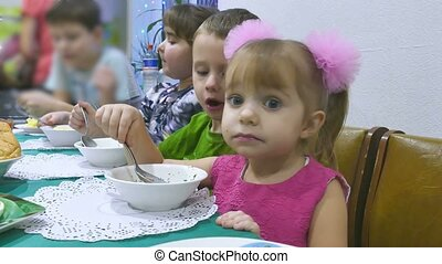 Children eat breakfast birthday family christmas celebration...
