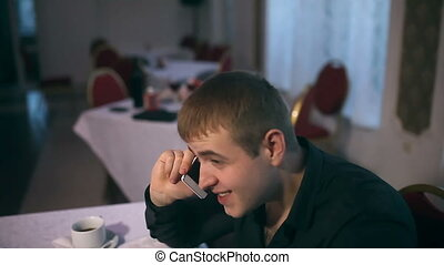 man with your tablet in cafe freelance drinking coffee...