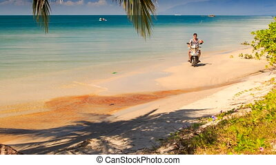 Guy Drives Motorbike to Palm Waves Hand on Beach - guy...