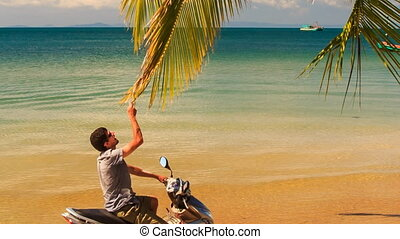 Guy Sits on Motorbike Smiles Touches Palm Branch under Palm...