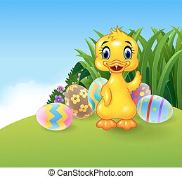 Cute little duck with colourfull - Vector illustration of...