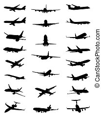 silhouettes of aircrafts - Black silhouettes of different...
