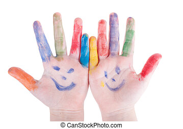 childrens hands palms colorful painted isolated on white...