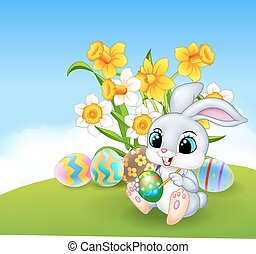 Cute little Easter Bunny painting - Vector illustration of...
