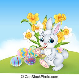 Cartoon happy bunny with colourful - Vector illustration of...