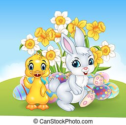 Cartoon happy duck and bunny - Vector illustration of...