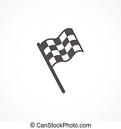 Racing flag icon - Gray Racing flag icon on white background