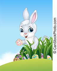 Cute Easter bunny looking for color - Vector illustration of...