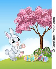 Cute Easter bunny walking - Vector illustration of Cute...