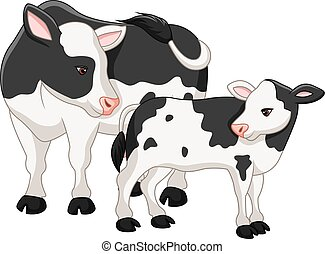 Cute cow mother with baby calf - Vector illustration of Cute...